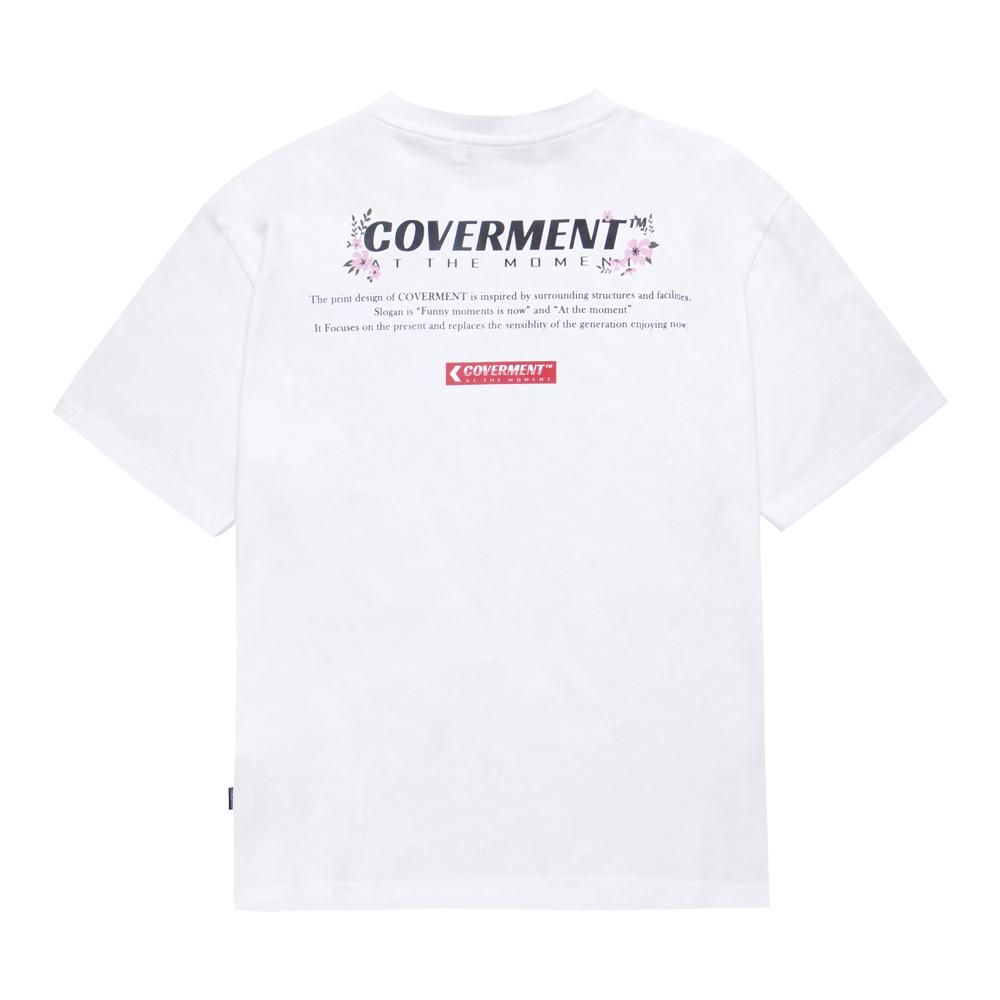 [COVERMENT] Flower Logo Print TEE White