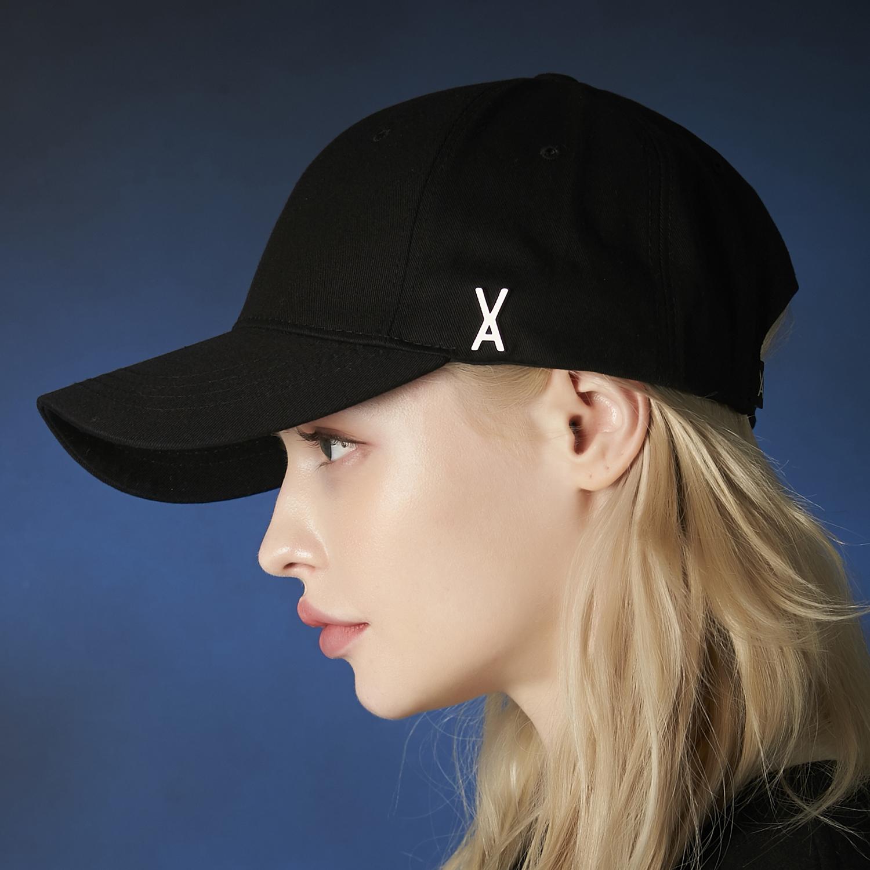 [트와이스 미나 착용][바잘]스터드 로고 오버핏 볼캡 블랙