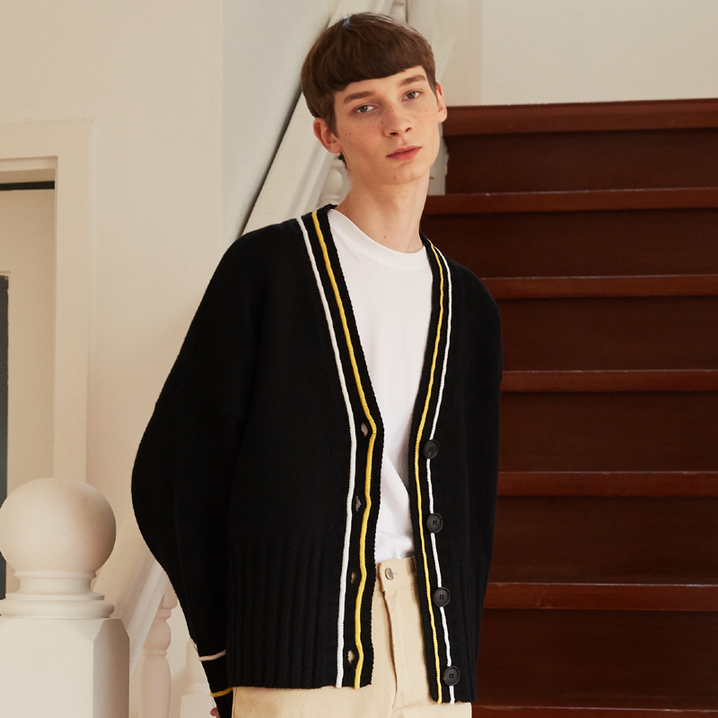 [unisex] 2 line cardigan (black)