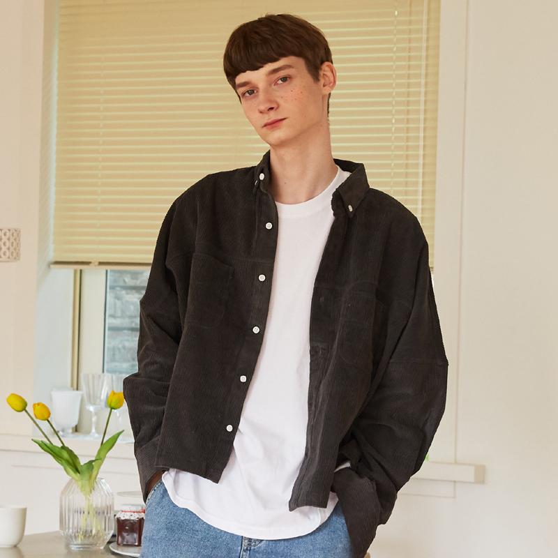 [unisex] coduroy jacket (dark grey)