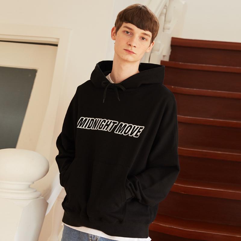 [단독][unisex] lettering hood (black)