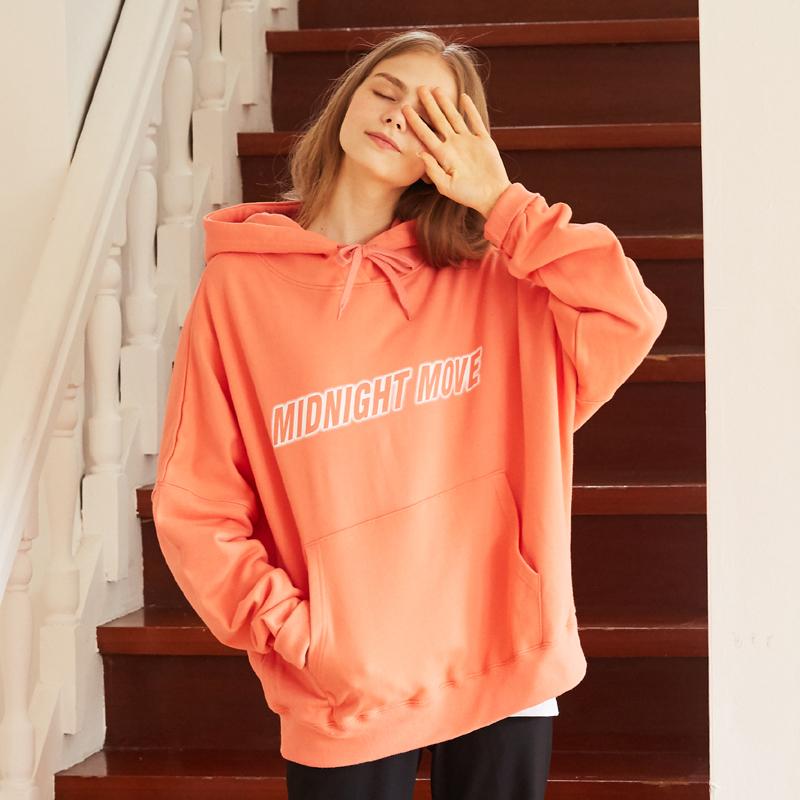 [단독][unisex] lettering hood (pink)