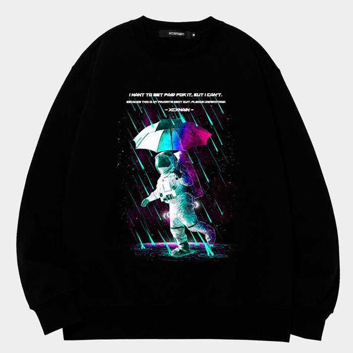 [마스크증정]SPACE LINE 에드반스 블랙 freeline rain space 스웨트 셔츠 (챔피온 코튼)