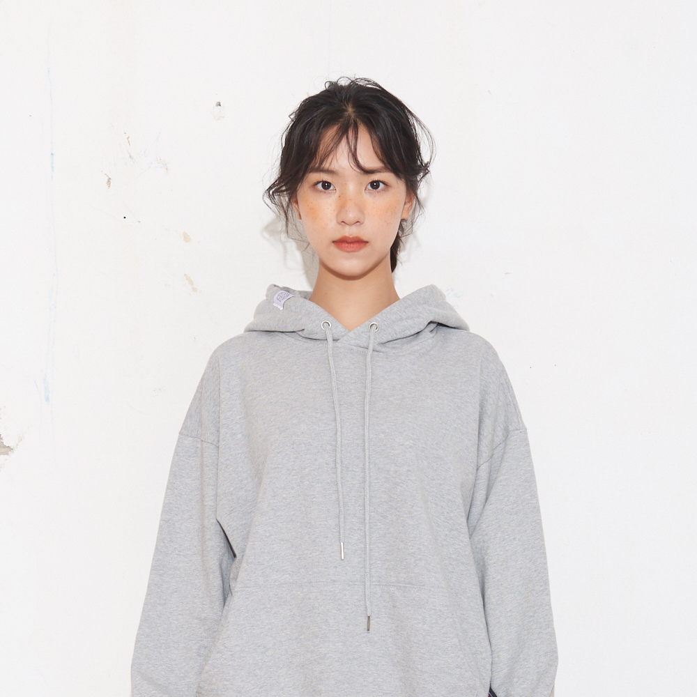 기본 자수 유니섹스 후드 맨투맨_멜란지그레이 M/L/XL
