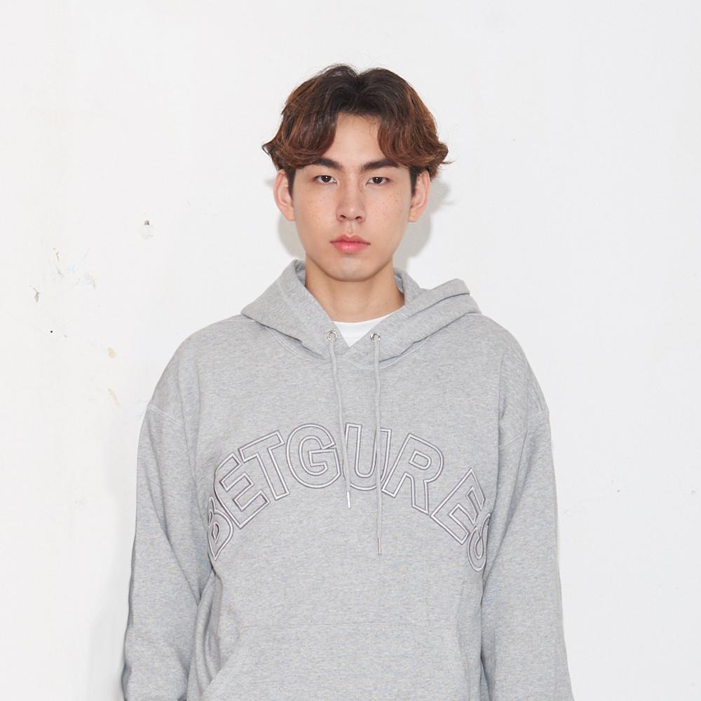 레터링 엠보자수 후드 맨투맨_멜란지그레이 S/M/L