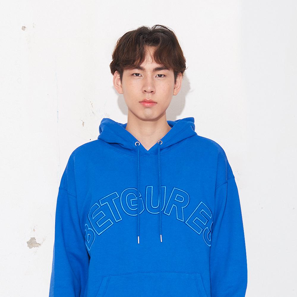 레터링 엠보자수 후드 맨투맨_블루 S/M/L