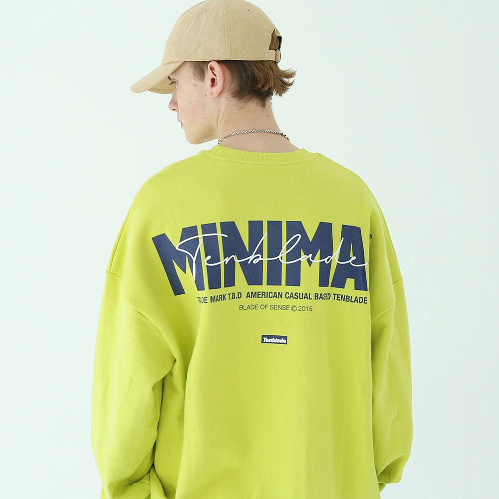 [단독상품]미니멀 사인 스웨트 셔츠 옐로우그린