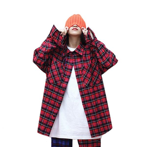 [단독벨트증정] (SALE) ROCKPSYCHO overfit check shirt / 락사이코 플란넬 체크셔츠-레드