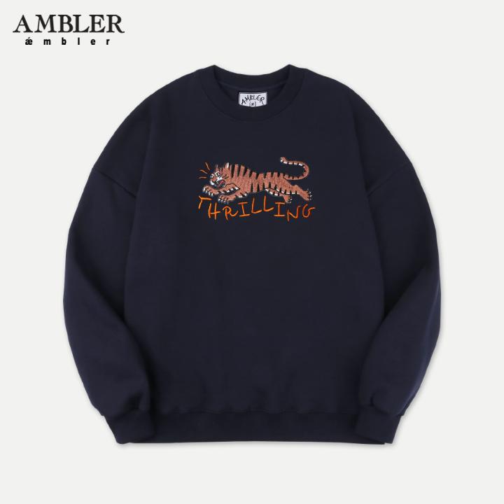 [엠블러]AMBLER 19FW 신상 자수 오버핏 맨투맨 티셔츠 AMM702-네이비 기모
