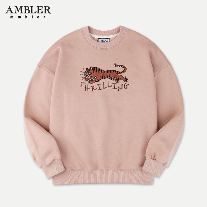 [엠블러]AMBLER 신상 자수 오버핏 맨투맨 티셔츠 AMM702-베이지
