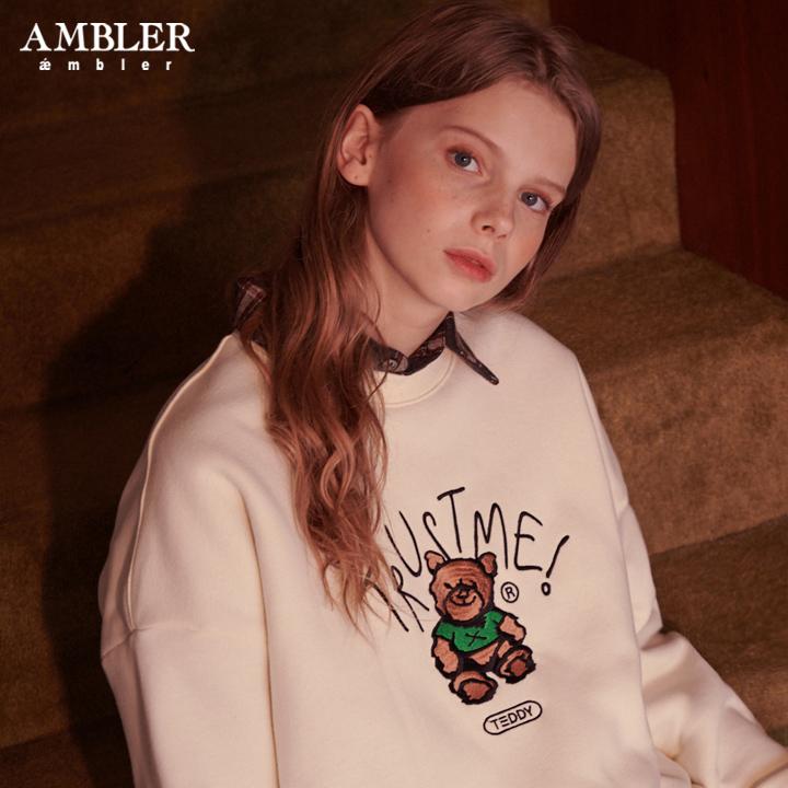 [엠블러]AMBLER 19FW 신상 자수 오버핏 맨투맨 티셔츠 AMM704-아이보리 기모