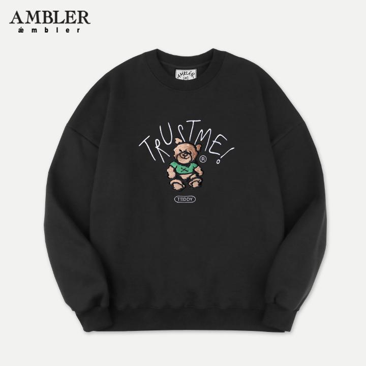 [엠블러]AMBLER 19FW 신상 자수 오버핏 맨투맨 티셔츠 AMM704-블랙 기모