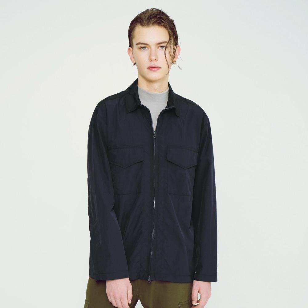 라이트 메탈릭 셔츠 자켓 네이비