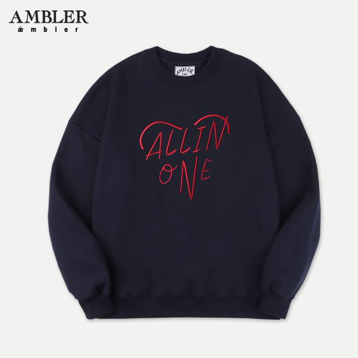 [엠블러]AMBLER 19FW 신상 자수 오버핏 맨투맨 티셔츠 AMM710-네이비