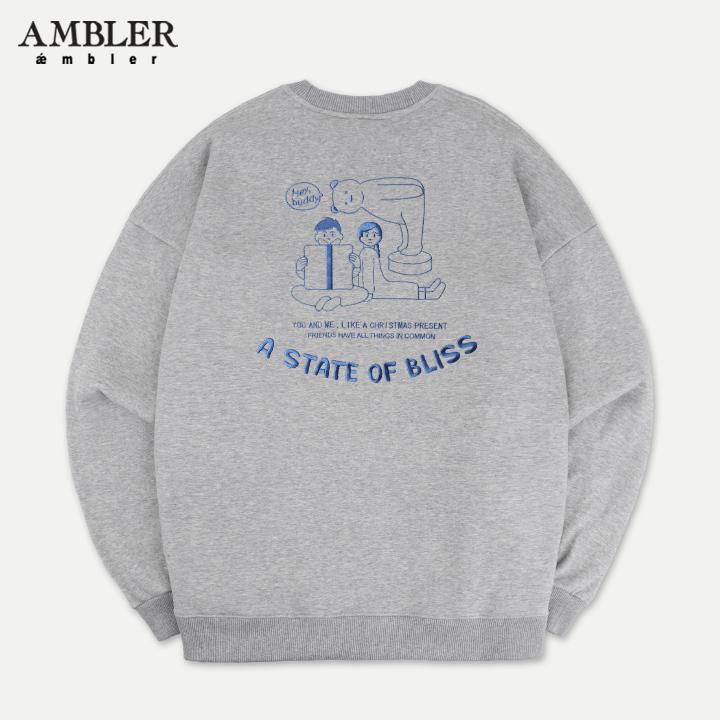 [엠블러]AMBLER 19FW 신상 자수 오버핏 맨투맨 티셔츠 AMM714-멜란지 기모