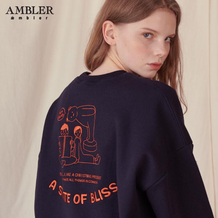 [엠블러]AMBLER 19FW 신상 자수 오버핏 맨투맨 티셔츠 AMM714-네이비 기모