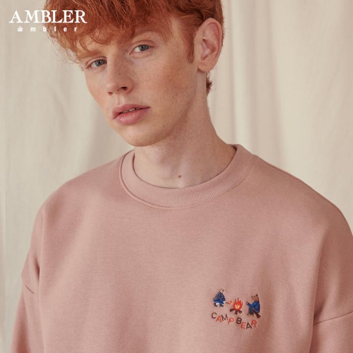 [엠블러]AMBLER 19FW 신상 자수 오버핏 맨투맨 티셔츠 AMM715-베이지 기모