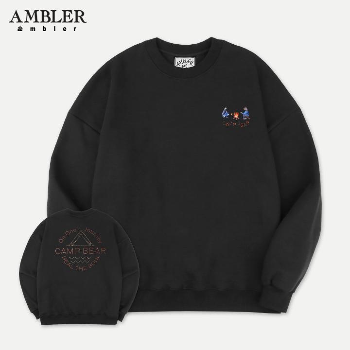 [엠블러]AMBLER 19FW 신상 자수 오버핏 맨투맨 티셔츠 AMM715-블랙 기모