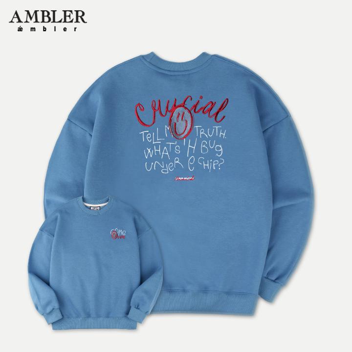 [엠블러]AMBLER 19FW 신상 자수 오버핏 맨투맨 티셔츠 AMM717-블루 기모