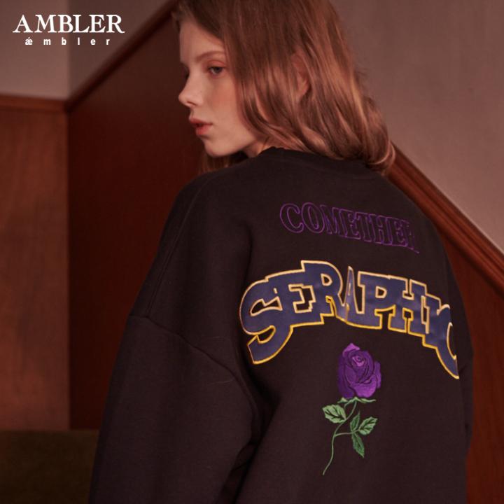 [엠블러]AMBLER 20FW 신상 자수 오버핏 맨투맨 티셔츠 AMM719-블랙