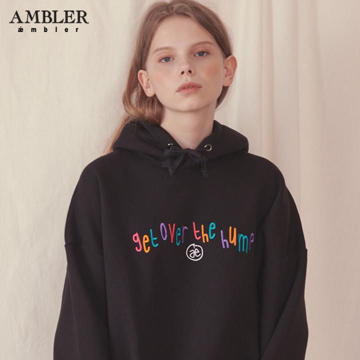[엠블러]AMBLER 신상 자수 오버핏 후드티 AHP601-블랙 기모