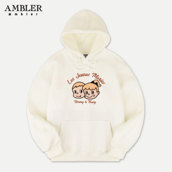 [엠블러]AMBLER 신상 자수 오버핏 후드티 AHP604-아이보리 기모