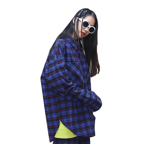 [단독벨트증정] (SALE) ROCKPSYCHO overfit check shirt / 락사이코 플란넬 체크셔츠-블루
