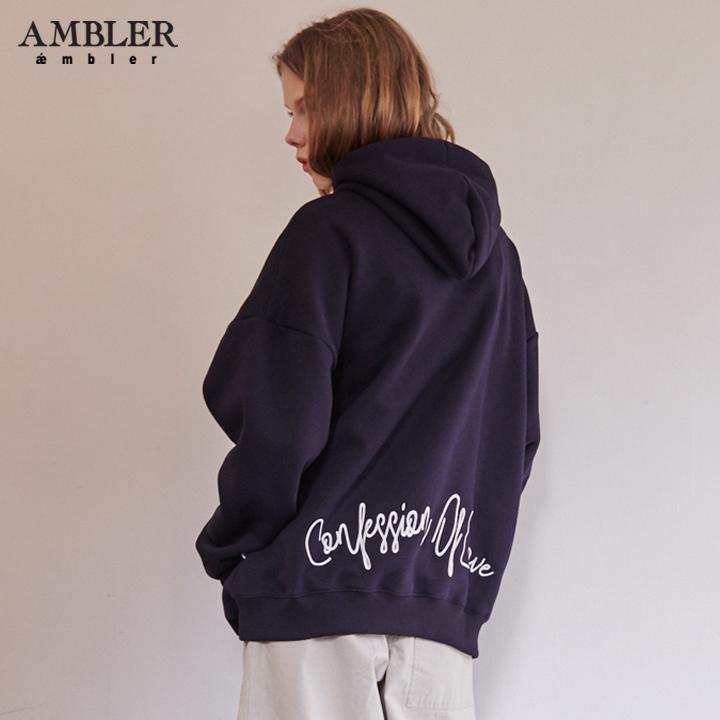 [엠블러]AMBLER 신상 자수 오버핏 후드티 AHP607-네이비 기모