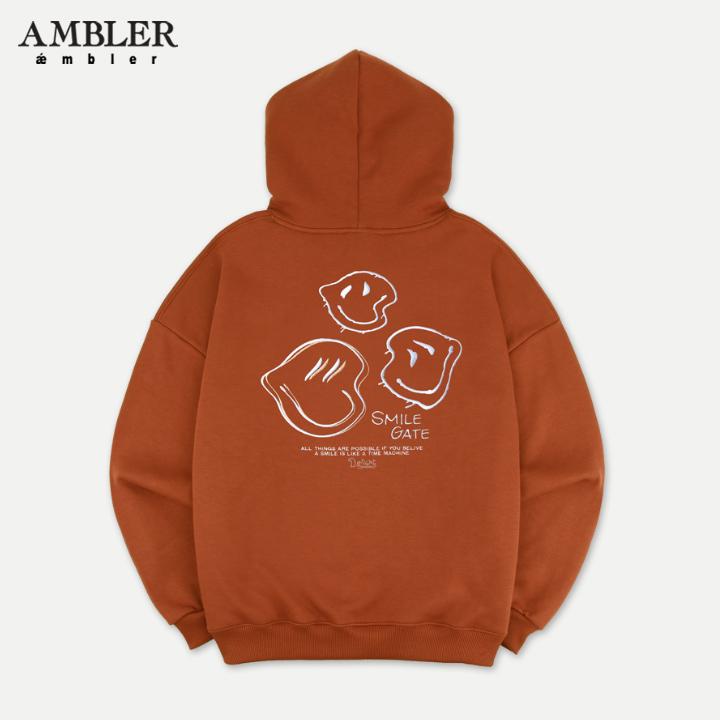 [엠블러]AMBLER 신상 자수 오버핏 후드티 AHP608-브라운 기모