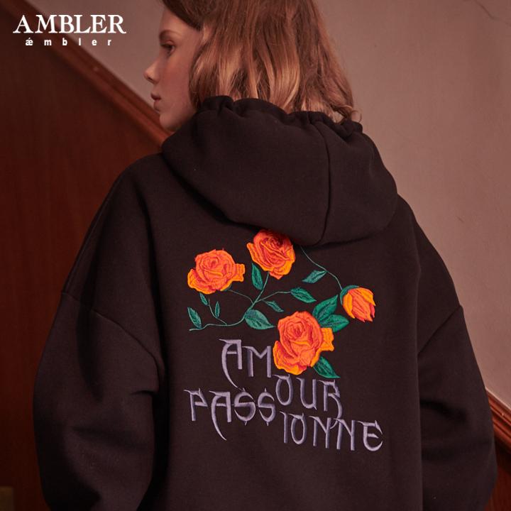 [엠블러]AMBLER 신상 자수 후드 오버핏 집업 AZIP201-블랙