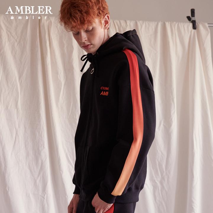 [엠블러]AMBLER 신상 자수 후드 오버핏 집업 AZIP203-블랙 기모