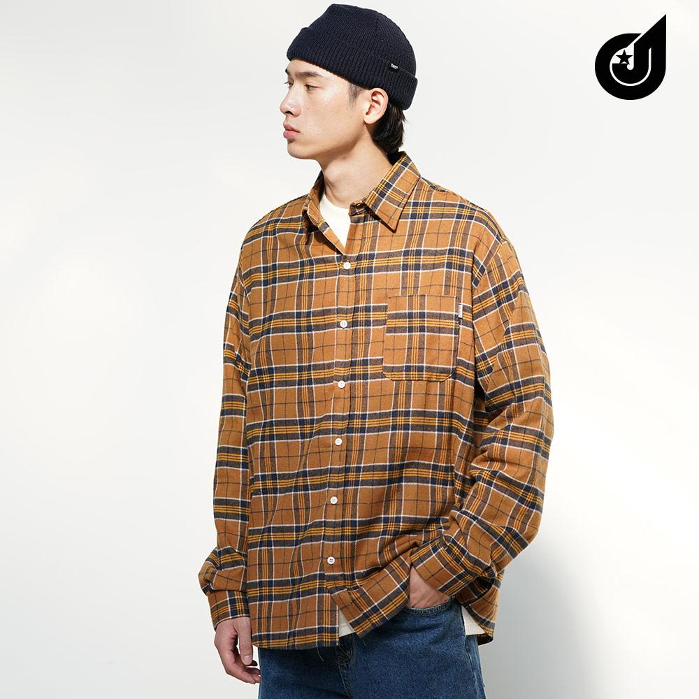 [다이클레즈] 폴체크 셔츠 베이지 LHLS5093