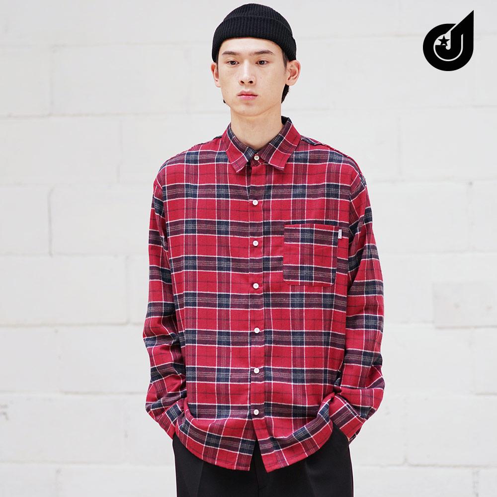 [다이클레즈] 폴체크 셔츠 레드 LHLS5093