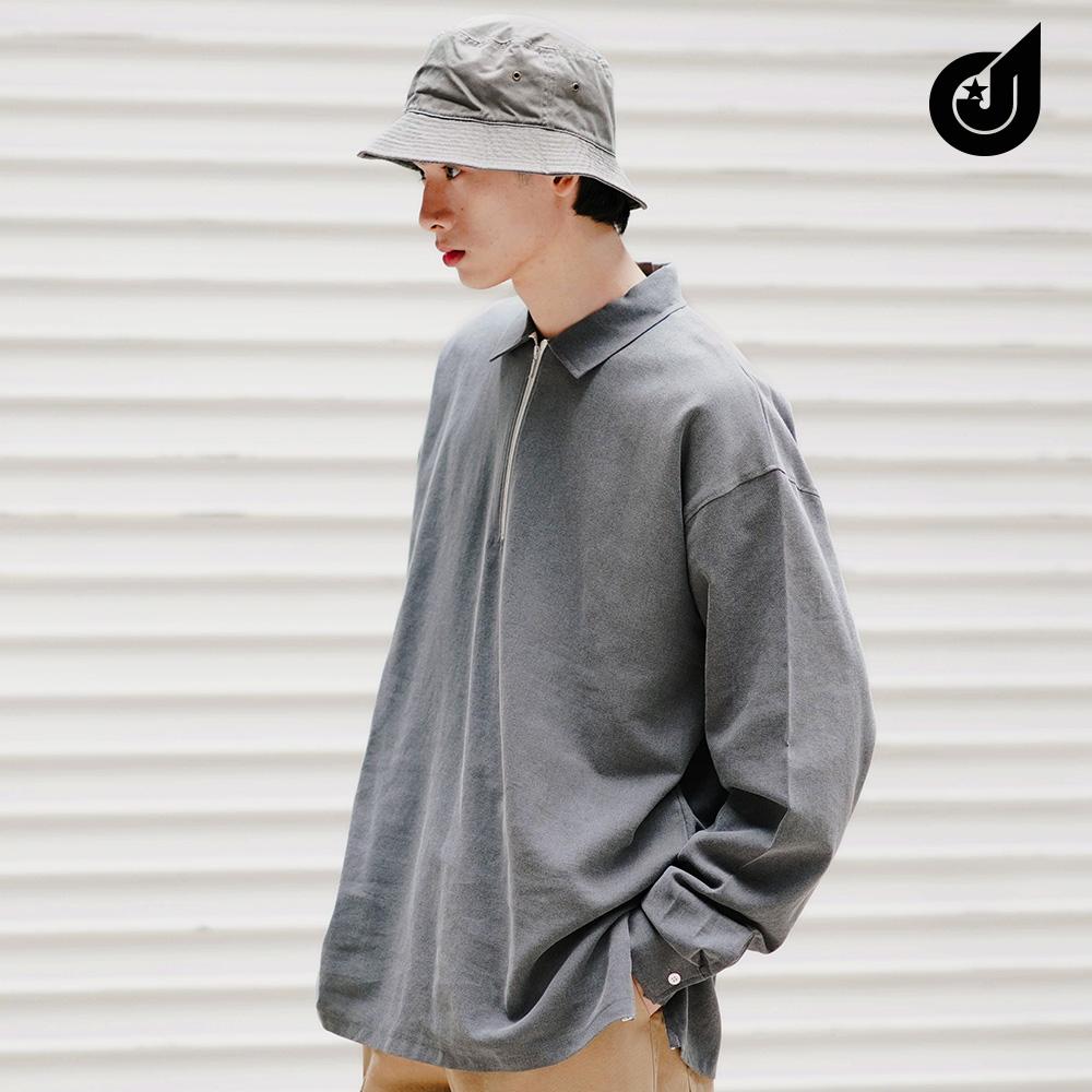 [다이클레즈] 와이지퍼카라 셔츠 검정 KHLS5091