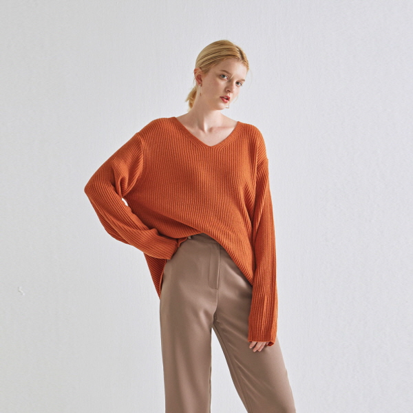 Y UNBALANCE OVER KNIT_CARROT