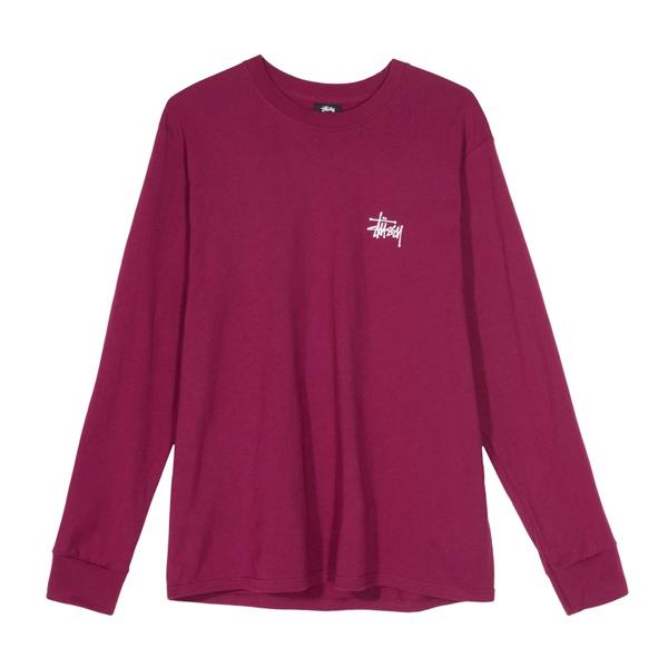 [해외]스투시 베이직 로고 크루넥 티셔츠 와인