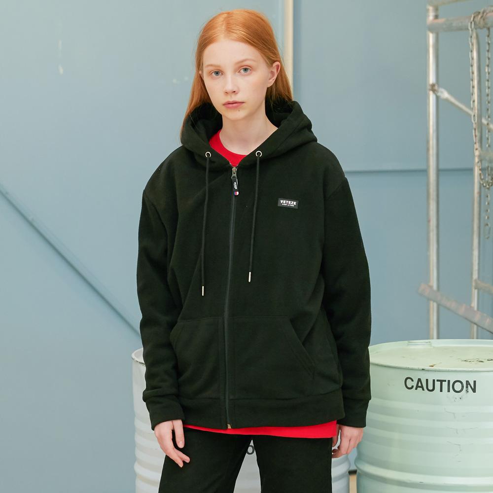 Basic Fleece Hood Zipup (black)