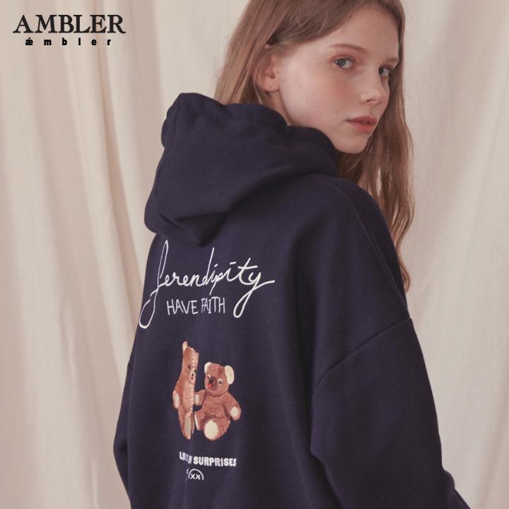 [엠블러]AMBLER 신상 자수 오버핏 후드티 AHP610-네이비 기모