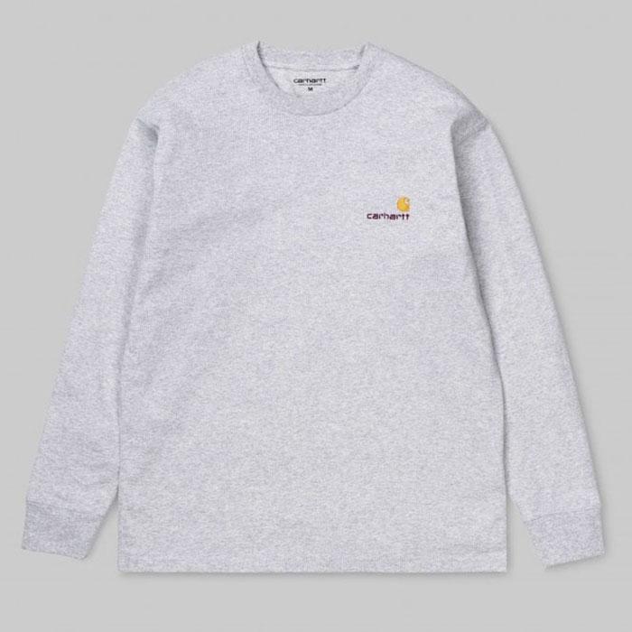 [국내배송]칼하트 WIP L/S 아메리칸 스크립트 티셔츠 (그레이)_I025712.482.00