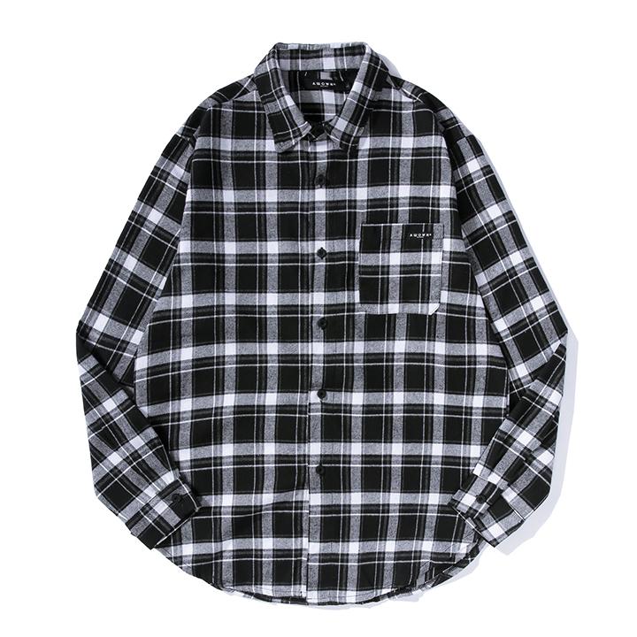 올라온 - Check Shirt - Black