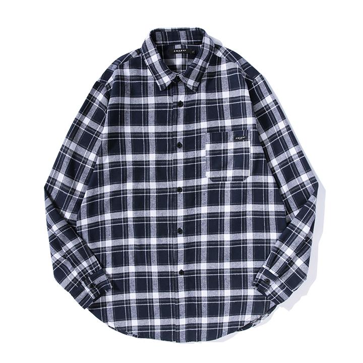올라온 - Check Shirt - Navy