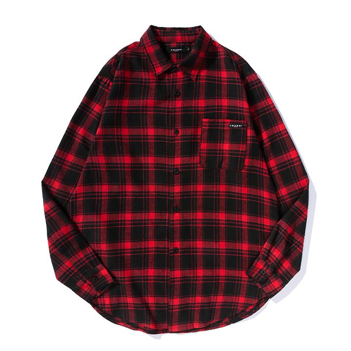 올라온 - Check Shirt - Red