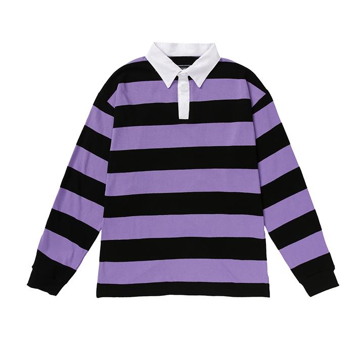 올라온 - Stripe Collar Shirts - A_17 - Purple/Black