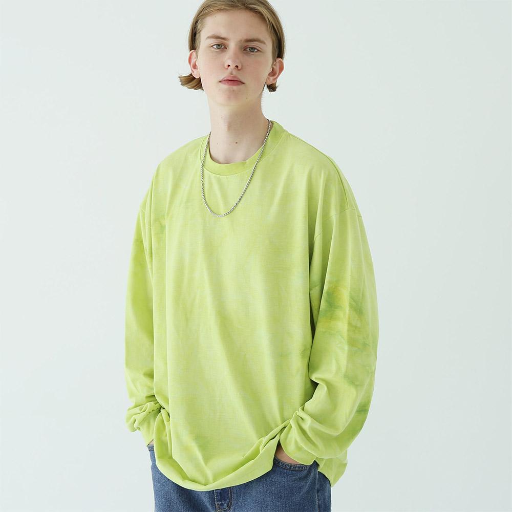 타이다이 레터링 긴팔 티셔츠 옐로우그린