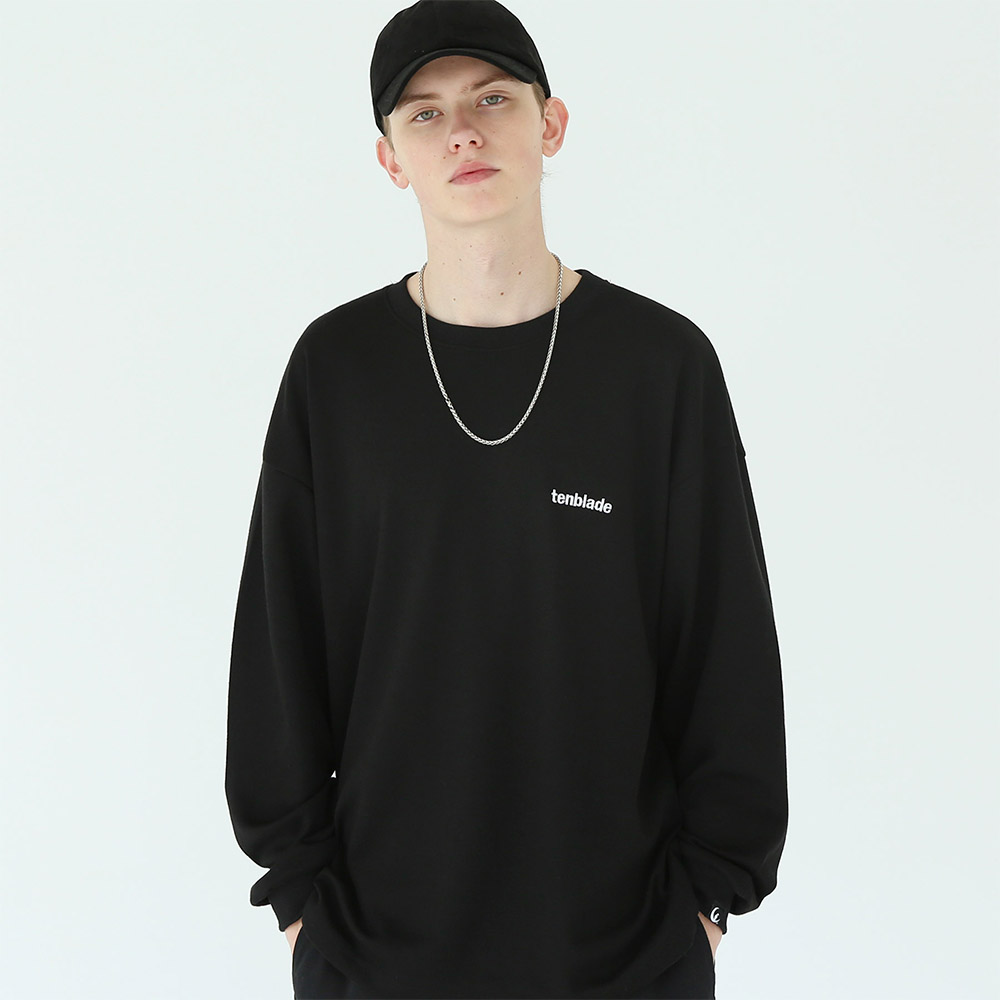 티엠 로고 긴팔 티셔츠 블랙
