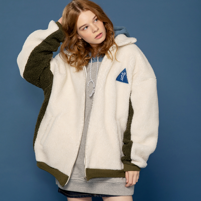25P HEAVY DUMBLE FLEECE ZIPUP JACKET_ivory (양털 후리스 집업 자켓)