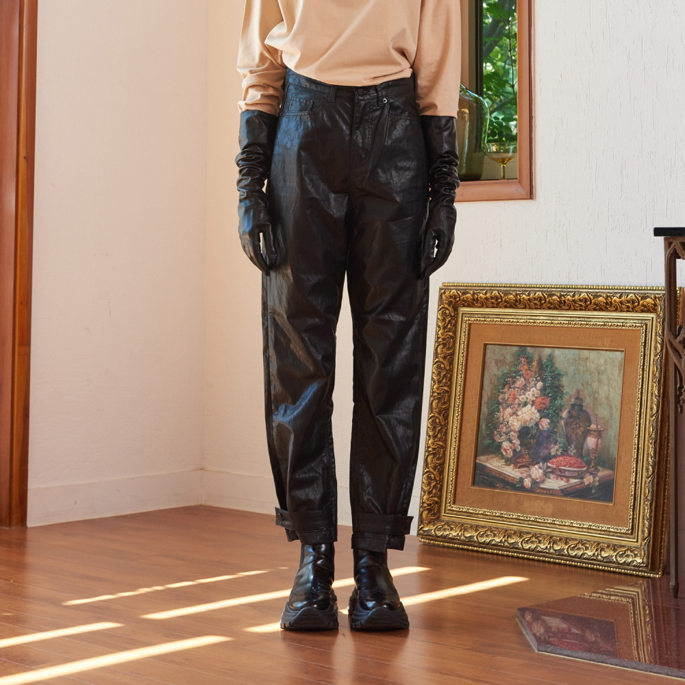 [10/18] SNAP WIDE LEATHER PANTS (BLACK)