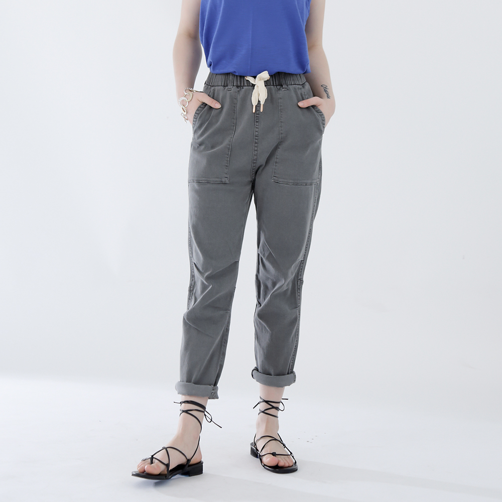 W_카버 4203 유니섹스 테이퍼드배기핏 그레이 면스판팬츠
