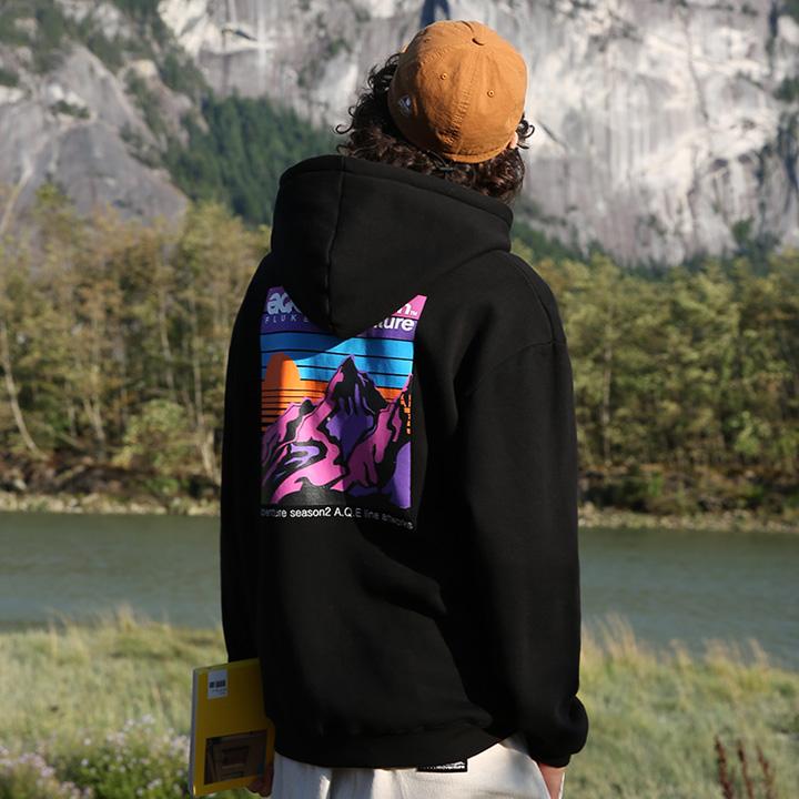 플루크 레인보우 선셋 후드티셔츠 FHT2008 / BLACK