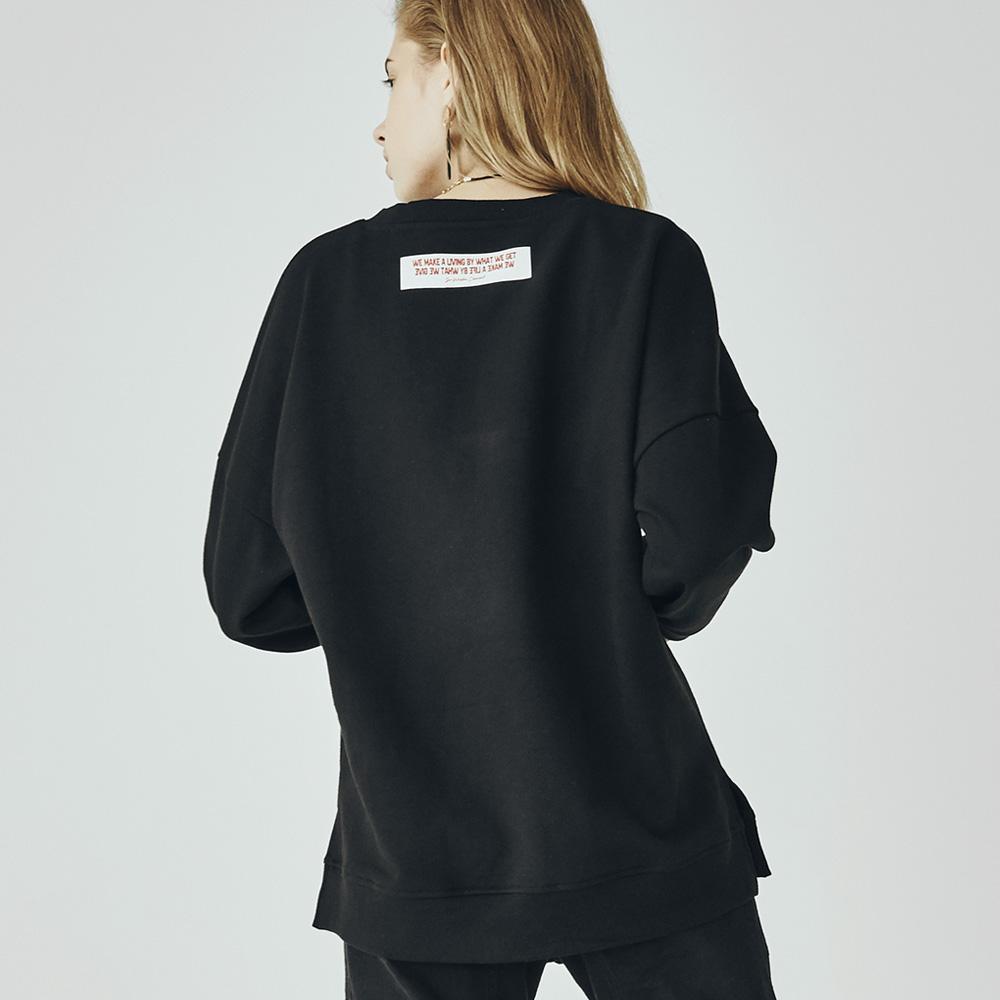 W_아카릿 3358 유니섹스 맨투맨 오버핏 블랙 스웨트셔츠